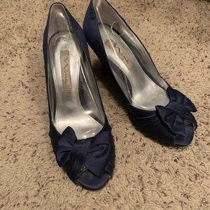 Nina Satin Navy Bow Heels